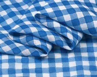 "Blue grid fabric, combed cotton fabric, soft dress fabric -(MKAFC)- 59""wide/150cm"
