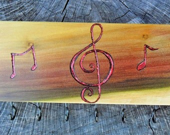 Music note wood key holder or jewelry rack, music teacher gifts, music gifts, wood jewelry holder, key rack, music note gclef