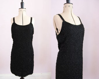 Vintage 80s 90s black beaded dress -  80s 90s beaded dress - Vintage beaded dress - Silk beaded dress - 1980s 90s party dress - LBD