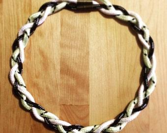 Black & White[s] // Tri-Cord Magnetic Braid Necklace // Black/Ghost/Snow
