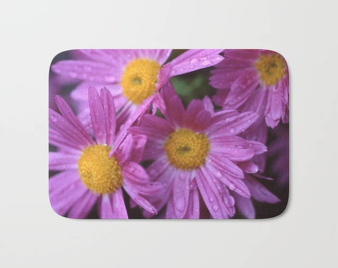 Purple Flower Bath Mat -  Shower Mat - Bathroom Mat -  Made to Order