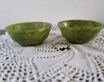Sale Pair of Spinach Jade Miniature Bowls