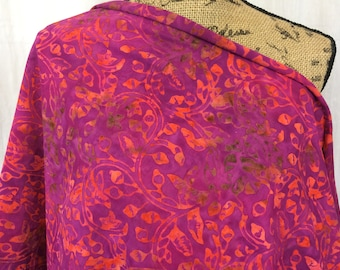 """Batik Fabric--Hand Dyed Fabric--Knit Cotton--Indonesian Batik--Extra Wide 72""""--Berry with Orange Vines--Knit Batik Fabric by the HALF YARD"""
