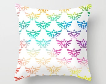 Legend of Zelda Pillow Cover, Zelda Pillow Cover, Triforce in Bright Watercolor Pillow Cover, Hylian Royal Crest Pillow Cover, Zelda Cushion