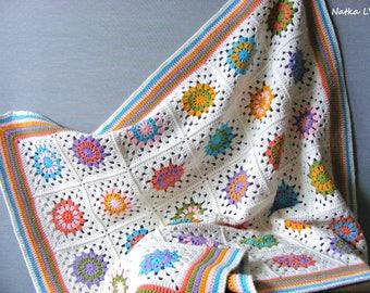 Crochet baby blanket, granny square blanket, rainbow blanket, baby boy girl blanket, unisex baby shower gift, crochet afghan, flower blanket