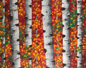 Birch trees painting, Small canvas art, colorful home office wall decor, original art