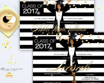 modern class of 2017 black and white graduation party with gold accents african american invitation - Invitations Graduation