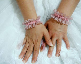 Pink Lace wrist cuff bracelet, flower girl Wedding Gloves Size small ruffle bracelet