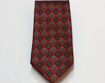 CLEARANCE Bravini Red Gray Gold Silver Geometric Silk Necktie