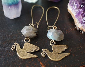 Vintage DOVE + LABRADORITE Organic Faceted Bead, Vintage brass, Gypsy Moonchild Gift For Her, Earrings