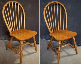 Pair Vintage Solid Ash Wood Wooden Windsor Spindle Back Dining Side Accent Chair