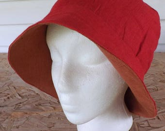 Pomegranate Red and Harvest Orange 100% Linen Reversible Bucket Hat Head Cover with Foldable Front Brim