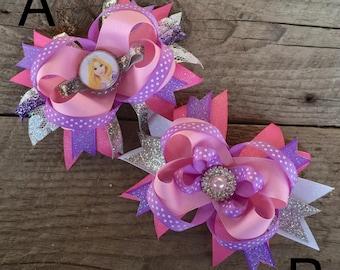Rapunzel Tangled Sparkle Disney Princess Bow with bottle cap or jewel