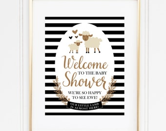 Lamb Welcome Sign, Baby Shower Welcome Sign, Gender Neutral Shower, Storybook Shower Decor, Black and White, INSTANT DOWNLOAD, #2403