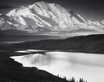 Ansel Adams, Mt. Mckinley and Wonder Lake, mountains, reflection, clouds, mountains, black & white photo, fine art print poster canvas