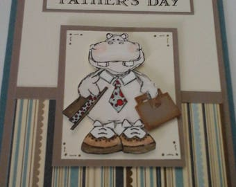 """Father's  Day, Business """"man"""" Hippo card"""