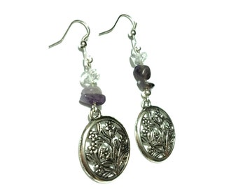 Flower Earrings - Silver Bronze - Amethyst and Clear Quartz - Protection Guidance Intuition Pain Relief Healing Crystal Earrings