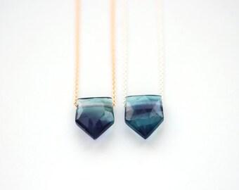 Geometric Fluorite Pendant, Pentagon Crystal Necklace, Blue Green Purple Semi Precious Gemstone Jewelry, 14K Gold Fill / Sterling Silver