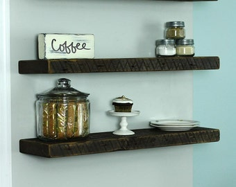 "8"" Deep Reclaimed Wood Shelves, Salvaged Wood Shelf, Floating Shelf"