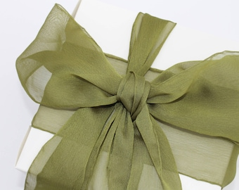 """Olive Green Ribbon. 3"""" Wide Ribbon. Hand Torn and Frayed Olive Chiffon Ribbon. 3 Meter Lengths. Wedding Bouquet Ribbons. Olive Baby Shower"""