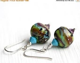 50%off SALE Green Ethnic Earrings, Turquoise Boho Earrings, Rustic Earthy colors, Lampwork Earrings, Boho Jewelry by MayaHoney