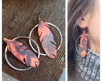 Handmade Copper Feather Boho Earrings - Perfect for Festivals and Anniversary Gifts for Her