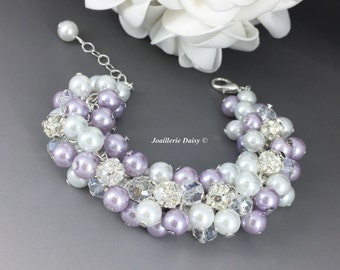 Lilac and White Pearl Cluster Bracelet, Bridesmiad Bracelet, Bridesmaids Gifts, Chunky Bracelet, Purple Bracelet, White and Purple