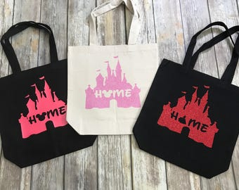 Disney tote, canvas tote, to go bag, tote