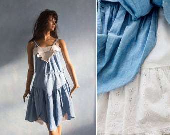 Two layers 70s  cotton   dress/ boho prairie country blue white cotton lace underskirt  dress/ S