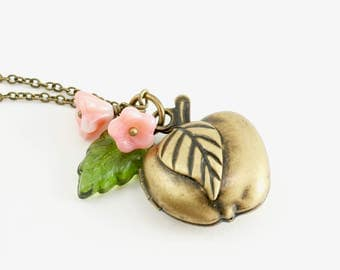 Apple Locket Necklace with Apple Blossoms and Leaf, Teacher Gift, Apple Necklace, Apple Jewelry, Graduation Gift