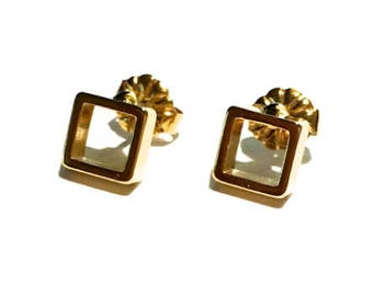 Tiny Gold Square Earrings, Gold Earring, Dainty Earring, Gold Studs