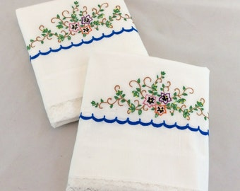 Vintage embroidered pillowcases with Crocheted Edging