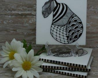 Drink Coasters, Ceramic Coasters, Tile Coasters, Table Coasters, Bar Coasters, Hand Drawn Coasters, Fruit Coasters, Set of 4