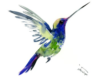 Flying Hummingbird, 12 X 9 in, original watercolor painting, flying bird art minimalist green blue bird art