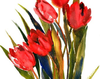 Red Tulips, 15 x 12 in original watercolor art, red floral  painting red wall art bright red