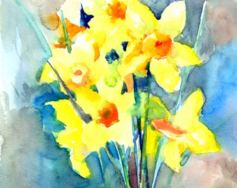 Abstract Artwork Daffodils painting, original watercolor, 12 x 9 in, yellow wall art, yellow painting, abstract floral wall art