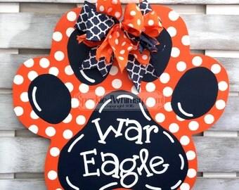 Football Door Hanger: War Eagle Auburn Alabama Tiger Paw Sports Team Sign