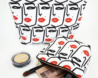 Red Lips Makeup Bag, Pinup Bag, Cosmetic Bag, Large Makeup Bag