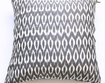 Grey Oval Ikat Throw Pillow Cover- Handwoven- 20x20