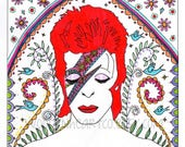 David Bowie Card: birthday card, fandom, ziggy stardust, illustration, sugar skull, day of the dead, colourful, special, memorabilia, 1970's