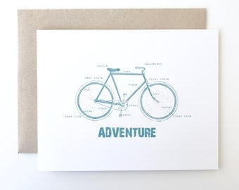 Bike Card. Bicycle Card. Labeled Bike Card. Hipster Card. I love my bike card.