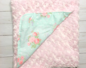 SHABBY CHIC FLORAL Adult Blanket Twin Bed Blanket Throw Blanket Pink Faux Fur by BizyBelle