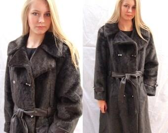 CLEARANCE faux fur coa, vintage60s 70s, brown, faux fur trench coat, Tissavel ,France, long fur cat, faux mink, mink, vegan, size  small