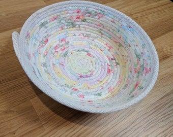 Shabby Chic Coiled Basket,  Fabric basket, Medium Coil Basket, Storage Basket, Gift Basket, Coiled Rope Basket, catchall