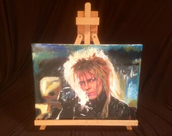 "LABYRINTH    David Bowie   Hand Painted  Acrylic Painting on Stretched Canvas  12"" x 16"""