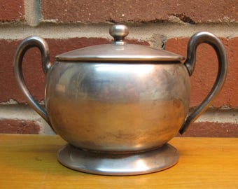 vintage academy sugar bowl bowl silver on copper plated dinnerware
