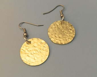 Brass Disk Earrings