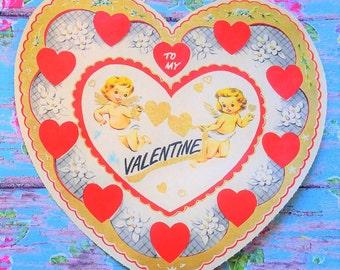 "OMG! 1950's Large VINTAGE Valentine's Day Card CHERUB Angels 7"" x 7"""