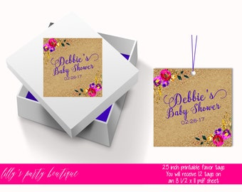 Floral Baby Shower Tags, Bright Watercolor Floral Tags, Gold Glitter, Kraft Tags- YOU PRINT