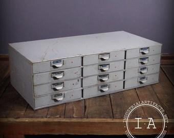 Vintage Industrial 12 Drawer Lyon Parts Cabinet